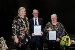 Mayor of Central Hawke's Bay with award winners Lynn Cross and Pauline Mackie